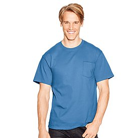 Hanes 6.1oz 100% Authentic Tagless Pocket T