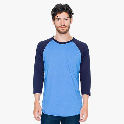American Apparel Poly-Cotton 3/4 Sleeve Raglan Tee