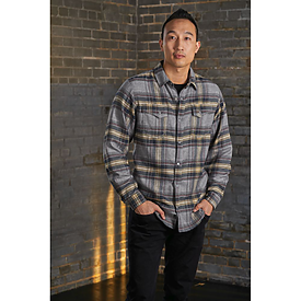 Burnside Woven Plaid Flannel Snap-Button Shirt