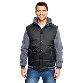 Burnside Hooded Fleece Sleeved Puffer Vest
