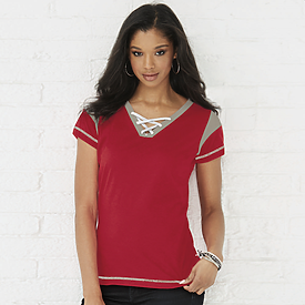LAT Ladies Gameday Lace up Tee
