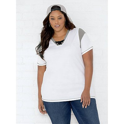 LAT Ladies  Curvey Game Day Lace-up Jersey Tee