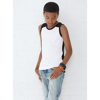 LAT Youth Contrast Back Fine Jersey Tank