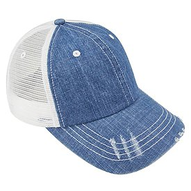 MEGA CAP Denim Herringbone Trucker