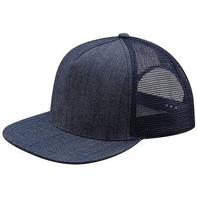 MEGA CAP Five-panel Flat Bill Trucker Cap