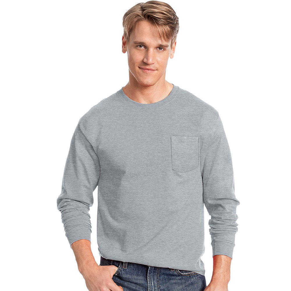 b10b90f08 Hanes Long Sleeve T Shirts With Pocket
